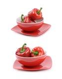 Rode geïsoleerde groene paprika'ssamenstelling Royalty-vrije Stock Afbeelding