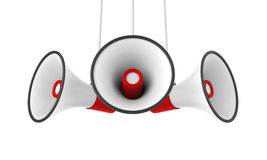 Rode Geïsoleerde Megafoons royalty-vrije illustratie