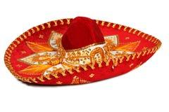 Rode geïsoleerde sombrero Stock Afbeelding