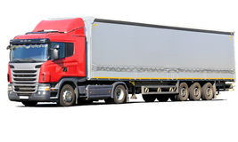Rode geïsoleerde vrachtwagen royalty-vrije stock foto