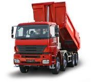 Rode geïsoleerde vrachtwagen Royalty-vrije Stock Foto's
