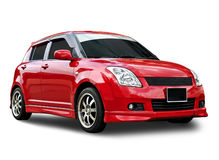 Rode geïsoleerded auto Stock Foto's