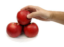 Rode geïsoleerdei appelen, Royalty-vrije Stock Afbeeldingen