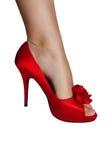 Rode geïsoleerdep vrouwenschoenen Royalty-vrije Stock Foto's