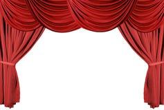 Rode Gedrapeerde Reeks 3 van de Gordijnen van het Theater Stock Foto's