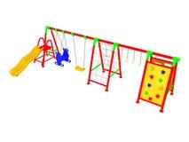 Rode geeft 3d van de kinderen` s speelplaats op witte achtergrond geen shado terug Stock Foto's