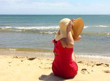 Rode geklede vrouw Royalty-vrije Stock Fotografie