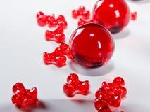 Rode Gekleurde Parels Stock Foto