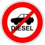 Rode gekruiste verkeersteken die diesel in te gaan auto's beperken stock illustratie