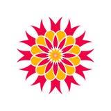 Rode, gele bloem Decoratief element stock afbeeldingen