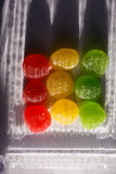 Rode, gele, groene fruitgelei, fruitsuikergoed, jujube royalty-vrije stock afbeeldingen