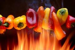Rode, gele, oranje peper met brand Stock Afbeelding