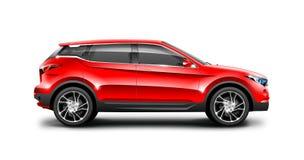 Rode Generische SUV-Auto op Witte Achtergrond Zijaanzicht met Geïsoleerde Weg royalty-vrije illustratie
