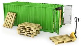 Rode geopende container en stapel pallets Royalty-vrije Stock Fotografie