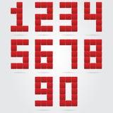 Rode geplaatste antwoordnummers Stock Afbeeldingen