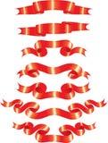 Rode Geplaatste Banners Stock Afbeelding