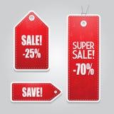 Rode geplaatste de markeringenstickers van de prijsverkoop Stock Fotografie
