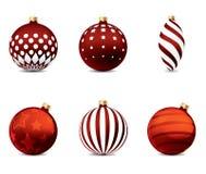 Rode geplaatste Kerstmisballen Stock Afbeelding