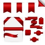 Rode Geplaatste Linten, Geïsoleerd op Witte Achtergrond Royalty-vrije Stock Foto's