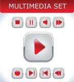Rode geplaatste multimedia Stock Afbeelding