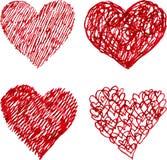 Rode geplaatste penhand getrokken harten Stock Afbeelding