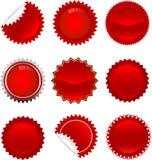 Rode geplaatste starbursts Stock Afbeeldingen