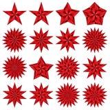 Rode geplaatste sterren. Pentagonaal. Stock Fotografie