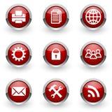Rode geplaatste Webpictogrammen Stock Fotografie
