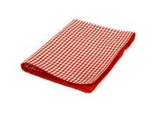 Rode geruite picknickdoek die op wit wordt geïsoleerd Stock Foto