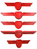 Rode geschilderde metaalvleugels geplaatst die op witte achtergrond worden geïsoleerd stock illustratie