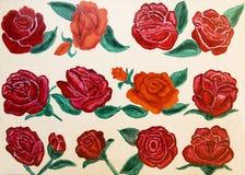 Rode geschilderde rozen, Royalty-vrije Stock Afbeeldingen