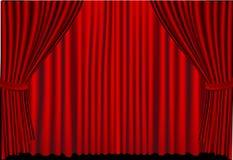 Rode gesloten gordijnen Stock Afbeeldingen