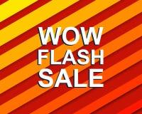Rode gestreepte verkoopaffiche met WAUW de tekst van de FLITSverkoop Adverterende banner Stock Foto's
