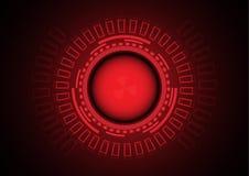 Rode gevaarscirkel van cybercrime op technologieachtergrond Royalty-vrije Stock Foto's
