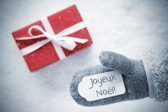 Rode Gift, Handschoen, Joyeux Noel Means Merry Christmas, Sneeuwvlokken stock foto