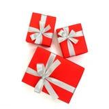 Rode giftdoos die op witte achtergrond wordt geïsoleerd Royalty-vrije Stock Fotografie