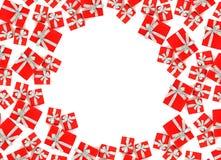 Rode giftdoos die op witte achtergrond wordt geïsoleerd Stock Foto