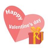 Rode giftdoos met geel lint en hart voor de dag van Valentine ` s Witte achtergrond Stock Fotografie