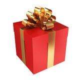 Rode giftdoos met gouden boog Stock Fotografie
