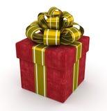 Rode giftdoos met gouden die boog op witte achtergrond 5 wordt geïsoleerd Royalty-vrije Stock Foto's