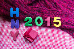2015 Rode giftdoos voor achtergrond Stock Fotografie