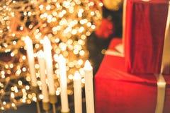 Rode giften voor nieuw jaar Stock Foto