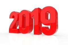 2019 Rode Glanzende die Aantallen op witte achtergrond worden geïsoleerd Gelukkig Nieuwjaar 2019 3D Illustratie vector illustratie