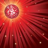 Rode glanzende disco-bal Stock Afbeeldingen