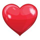 Rode glanzende hartvector Stock Afbeelding