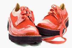 Rode glanzende laarzen Stock Foto