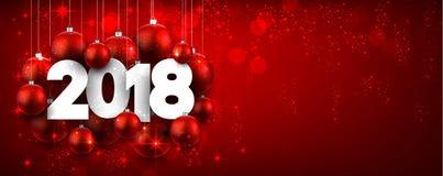 Rode glanzende 2018 Nieuwjaarbanner Stock Afbeeldingen