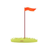 Rode golfvlag, van het het materiaalbeeldverhaal van de golfsport de vectorillustratie royalty-vrije illustratie
