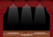 Rode gordijnen en houten vloer vectorillustratie Stock Fotografie