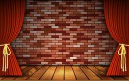Rode gordijnen op bakstenen muur vector illustratie